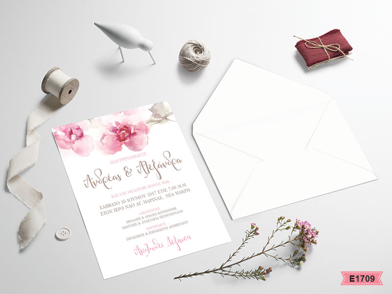 Romantic flower wedding invitations E1709