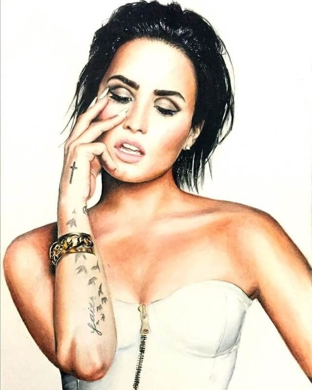 08-Demi-Lovato-Luca-Orlando-Celebrity-Drawn-with-Colored-Pencils-www-designstack-co