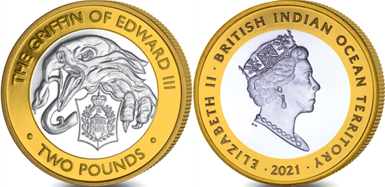 British Indian Ocean Territory 2 pounds 2021 - The Queen's Beasts - The Griffin of Edward III