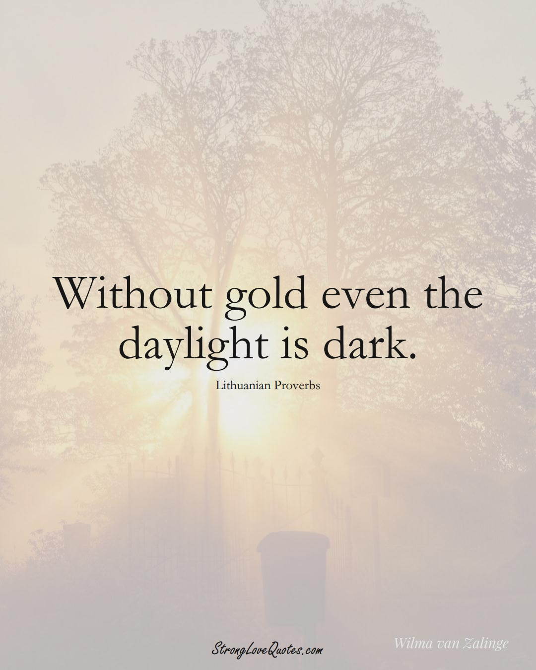 Without gold even the daylight is dark. (Lithuanian Sayings);  #AsianSayings