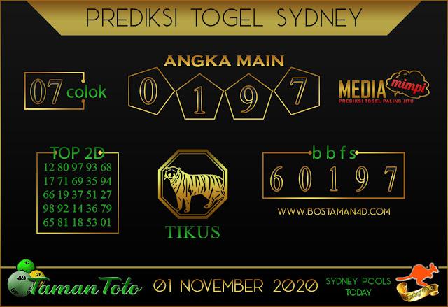 Prediksi Togel SYDNEY TAMAN TOTO 01 NOVEMBER 2020