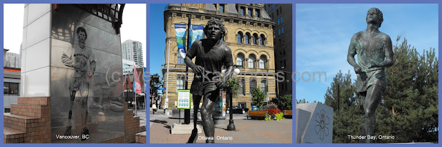Three photos of different monuments of Terry Fox
