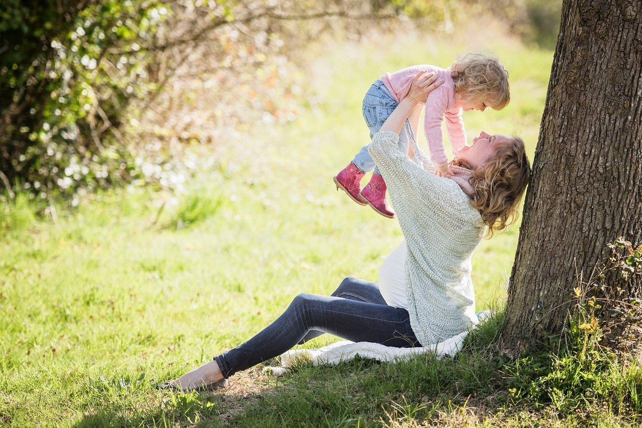 Free stock image from pixabay by timkraaijvanger of a pregnant woman and a young children