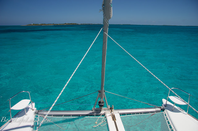 Lagoon catamaran at Fowl Cay, Abacos