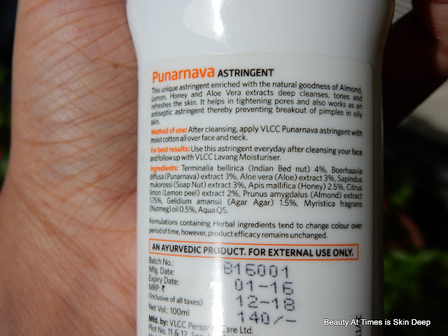 VLCC Punarnava Astringent ingredients