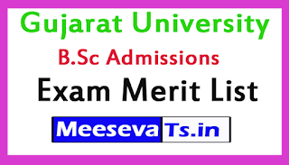 Gujarat University B.Sc Admissions Exam Merit List 2017