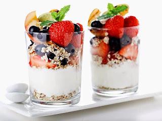 yogurt, muesli and berries