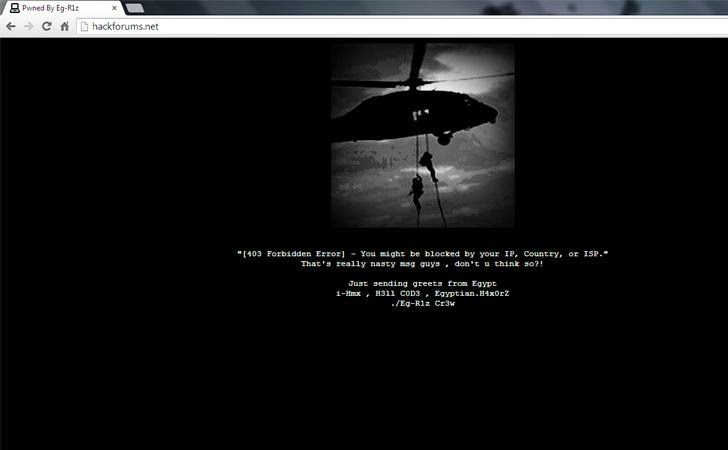 Popular Hackforums Website Defaced by Egyptian Hacker