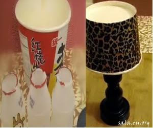 Making Miniature Craft Table Lamps From Used Yogurt Bottles