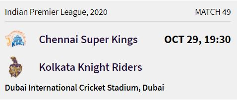 Kolkata Knight Riders match 13 ipl 2020