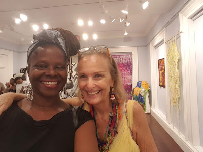 Amanda Trought with Artist Heather Dawn Scott - Celebrating Textiles Exhibition, Queens Park Gallery, Barbados
