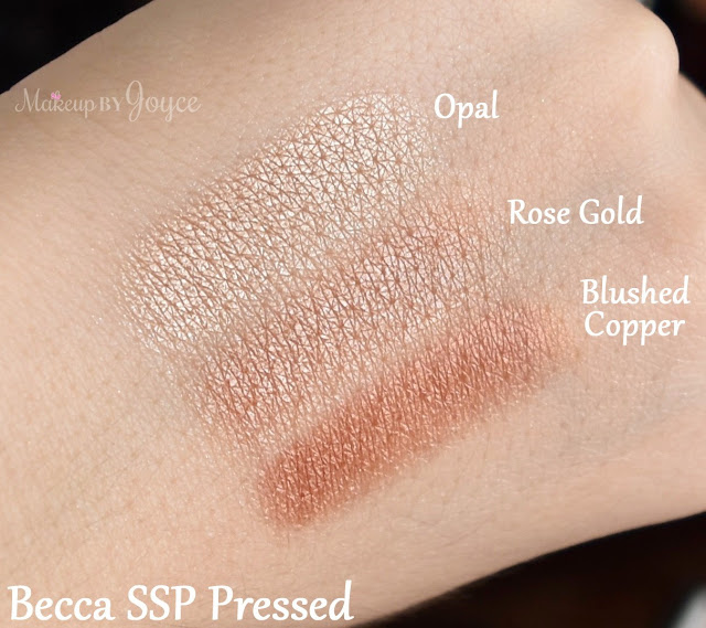 Becca Opal Rose Gold Blushed Copper Swatches