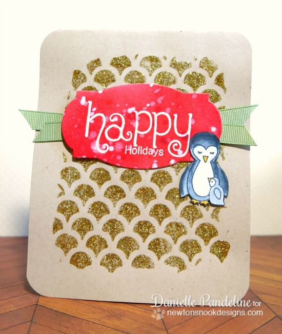 Happy Holidays penguin card by Danielle Pandeline | Wild Child & Simply Seasonal stamp sets by Newton's Nook Designs #newtonsnook