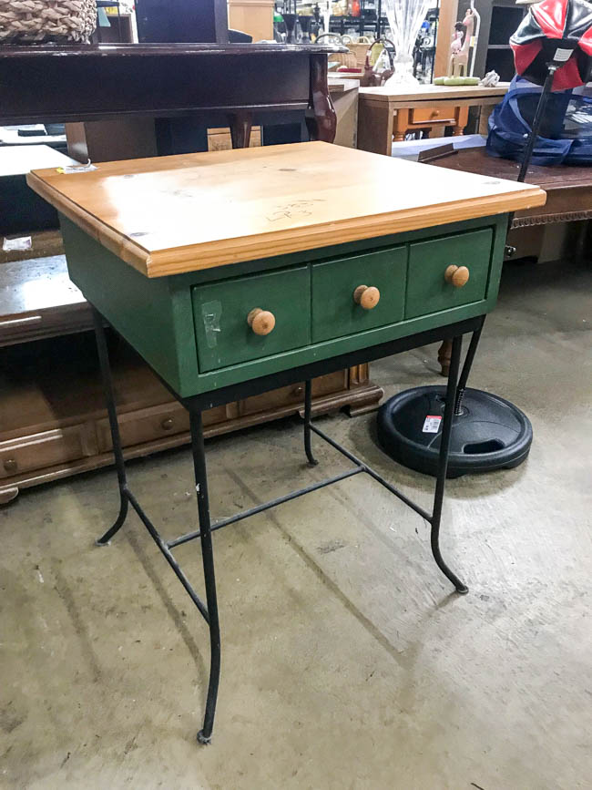 Goodwill side table before