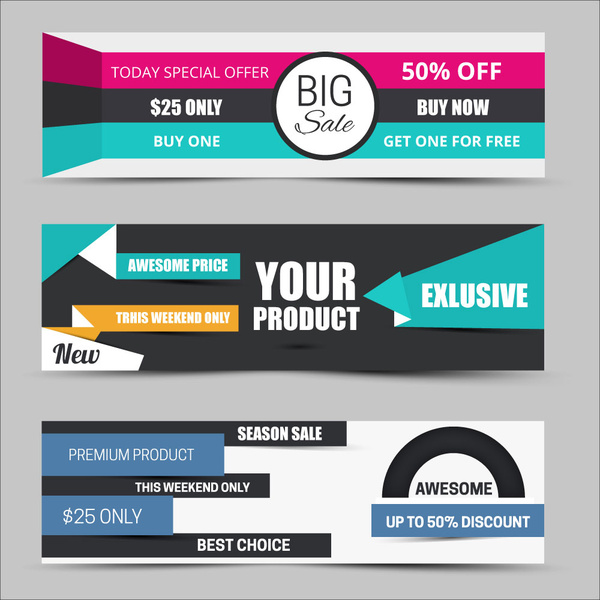 Sales promotion banners on modern style background Free vector