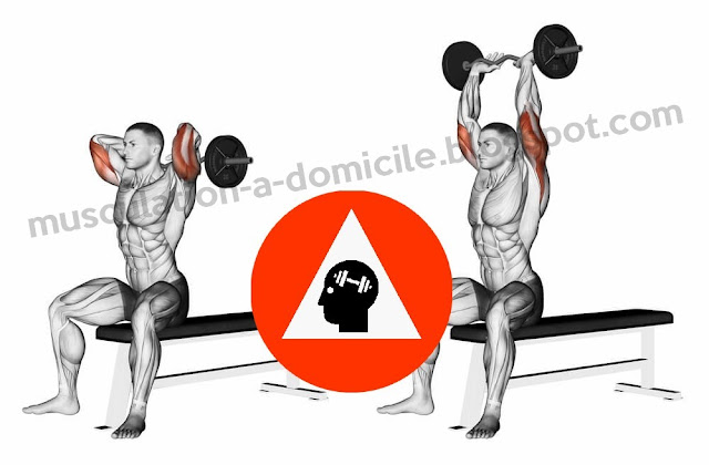 exercice musculation triceps extension nuque assis barre ez