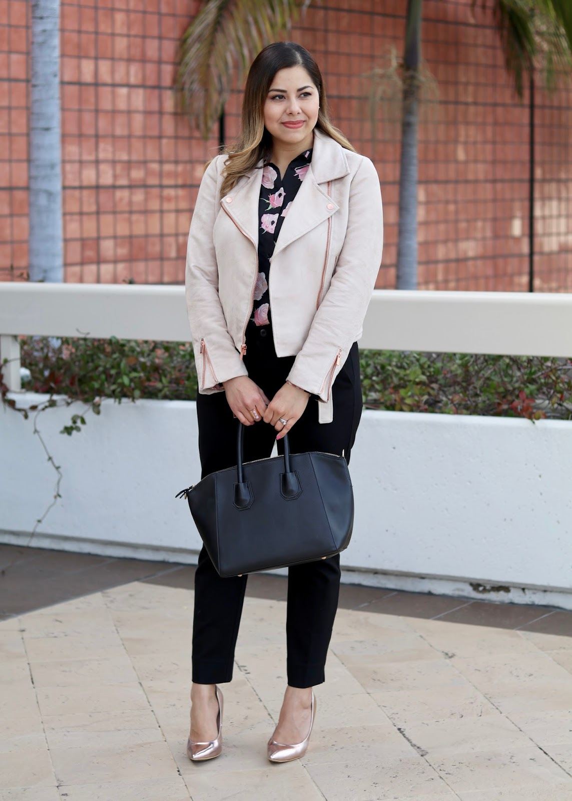 how to wear a blush moto jacket, mexican fashion blogger, neiman marcus fashion valley trend report