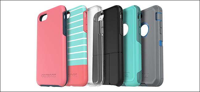 ست علب هاتف Otterbox بألوان وتصاميم مختلفة.