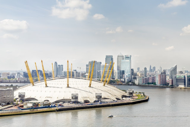 A picture of the Millennium Dome (The O2) on the River Thames in Greenwich, London