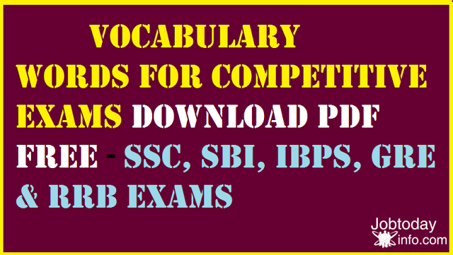 Daily Vocabulary words list pdf free Download Competitive Exams