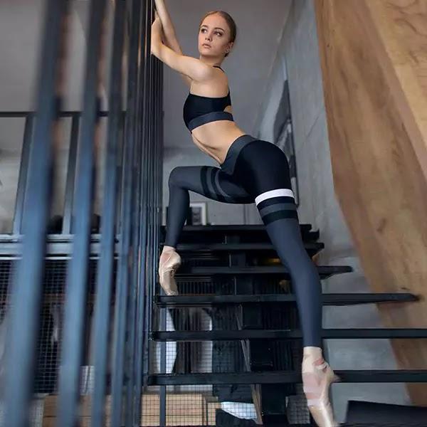Best Stripe Patchwork Gym Legging Suit