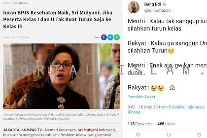 Sri Mulyani Suruh Peserta Turun ke Kelas II Jika Tak Sanggup Bayar Iuran BPJS, Warganet: Kalau Gak Sanggup Urus Negara, Silakan Turun!