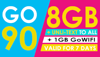 Globe Go90 – 8GB Data + Unli All-net Texts, only 90 Pesos for 7 Days