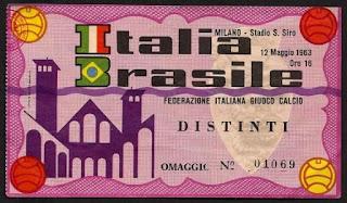 Il biglietto di Italia - Brasile 3-0, 12 maggio 1963.