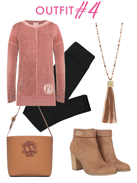 chenille pullover and booties and purse
