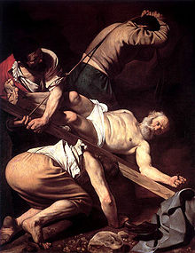 Crucifixion of St. Peter Painting The Crucifixion of Saint Peter is a work by Michelangelo Merisi da Caravaggio, painted for the Cerasi Chapel of Santa Maria del Popolo in Rome.