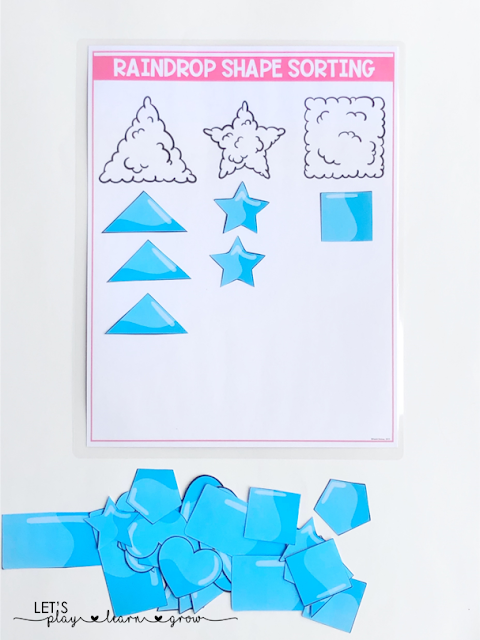 Raindrop Shape Sorting: Spring Themed Activity Binder