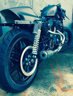 cafe tracker 1200 roadster by hd frosinone back right angle