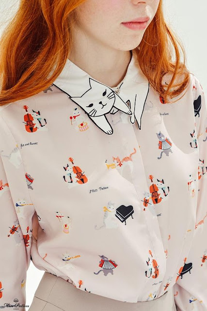 camicia con colletto a forma di gatto cat shirt cat collar shirt tendenze autunno 2016 fashion moda fashion blogger italiane blogger italiane blog di moda colorblock by felym mariafelicia magno winter trend miss patina camicia miss patina con gatto sul collo