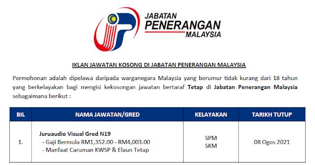 jabatan penerangan malaysia jawatan kosong spa
