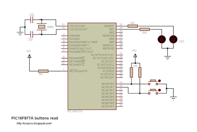 pic16f877a button input read ccs pic c