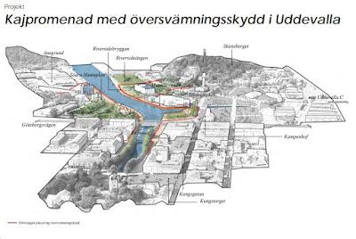 Skiss över området där översvämningsskyddet föreslås.