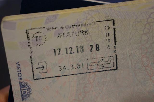 carimbo com o visto da Turquia