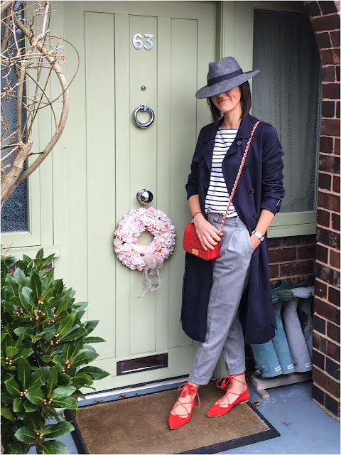 My Midlife Fashion, H & M striped breton top, East tencel trench coat, mango pleated trousers, medium leather quilted handbag, office ghille lace up flats, zara fedora hat