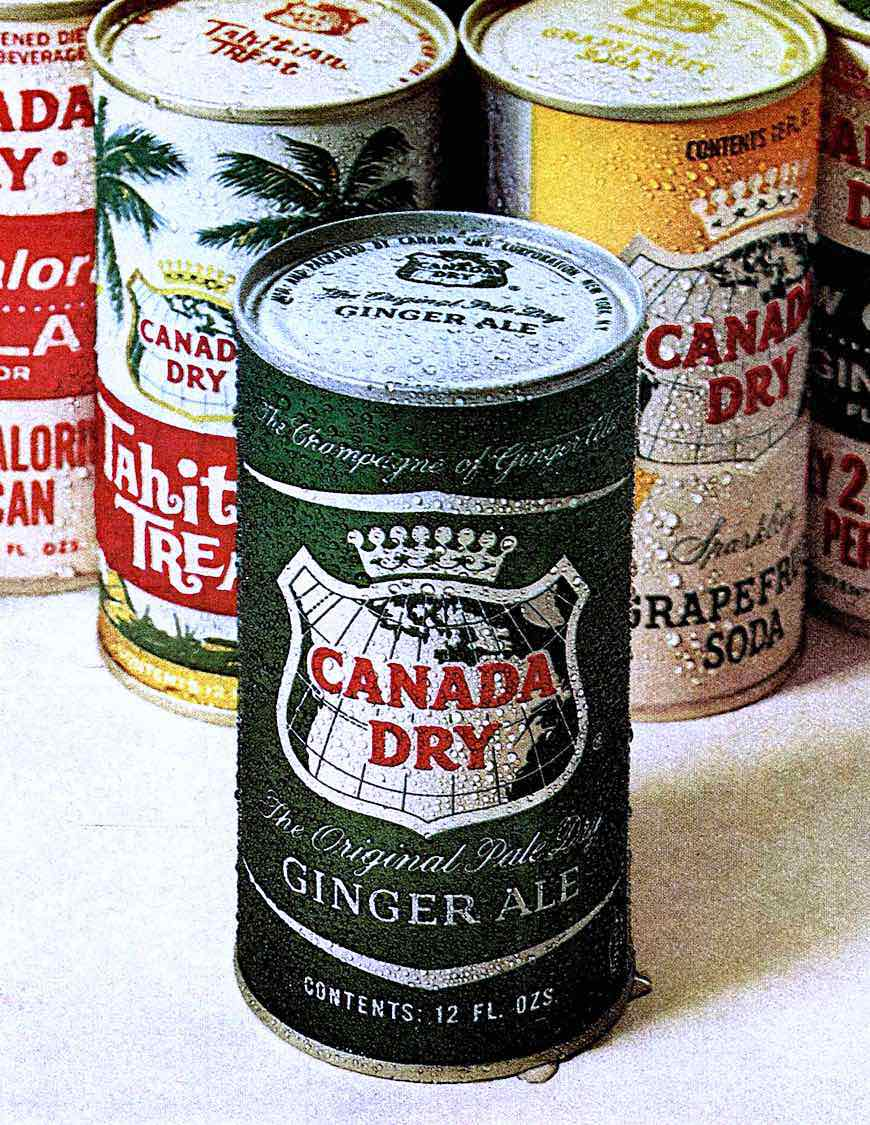 1965 Canada Dry soft drinks in cans, Tahitian Treat, Grapefruit Soda, a color photograph