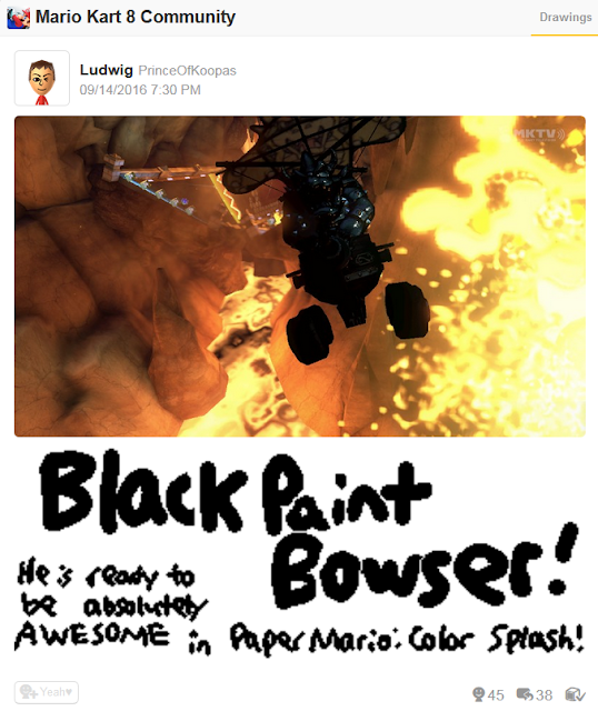 Black Paint Bowser ink Mario Kart 8 blooper Miiverse Paper Color Splash
