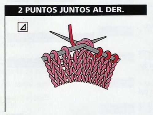 simbolo dos puntos juntos al derecho patron tricot