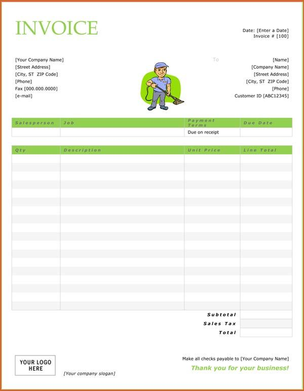 Resume Business Template Cleaning Invoice Template Free