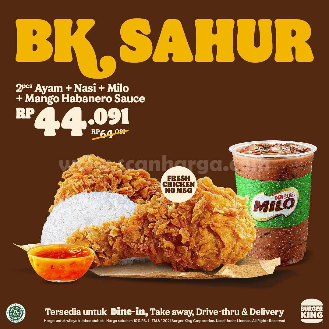 Promo Burger King Paket BK SAHUR Harga mulai Rp 44.091