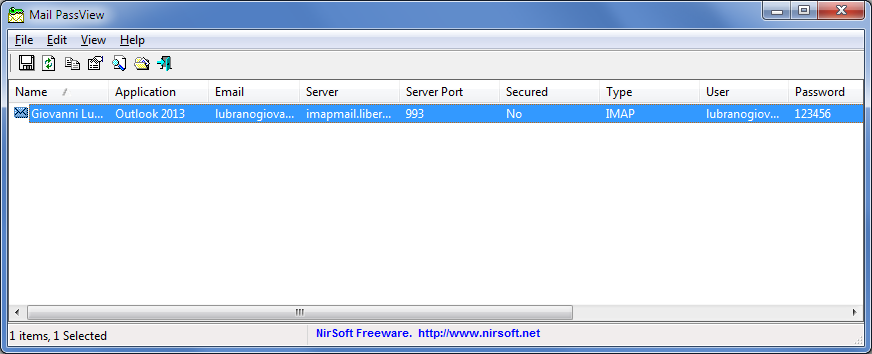 NirSoft, Mail PassView