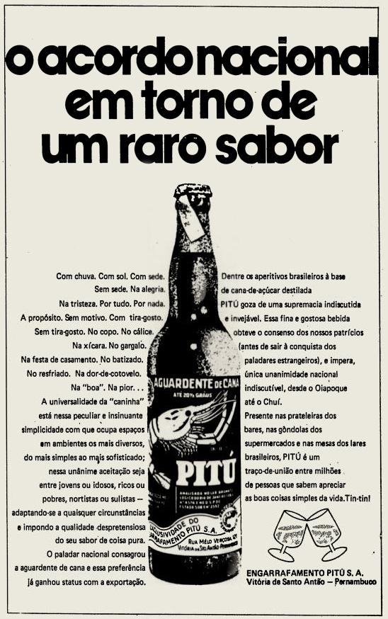 Propaganda antiga da aguardente Pitú no final dos anos 70