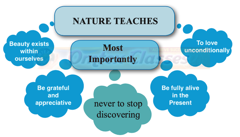 Nature is a great teacher and a guide. Complete the mind map as instructed as per the titled concept: