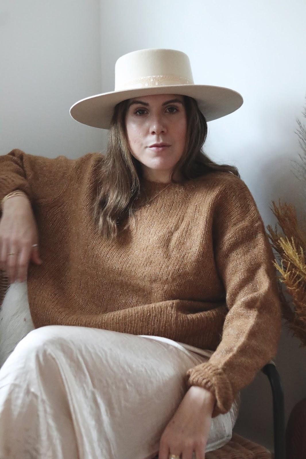 neutral winter outfit lack of color sierra hat aleesha harris
