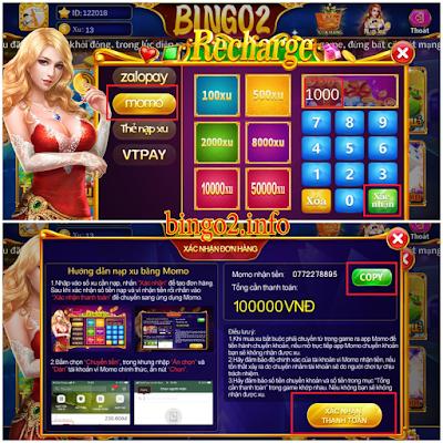 hướng dẫn nạp xu game bingo 2 qua momo bước 2