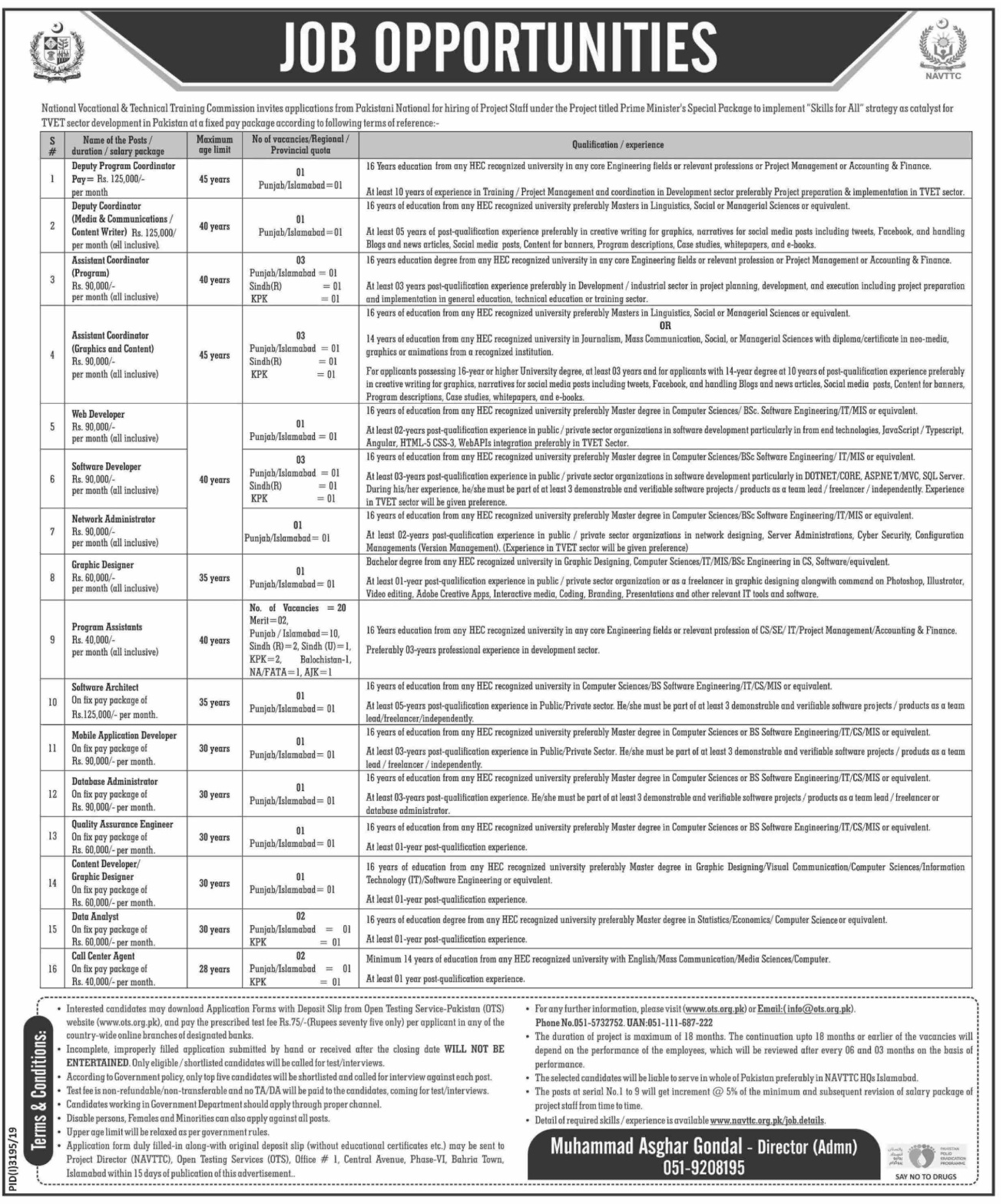 National Vocational & Technical Training Commission NAVTTC Islamabad Jobs 2019 via OTS Testing Service