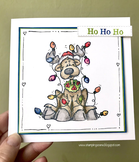 handmade christmas card reindeer wrapped in fairy lights